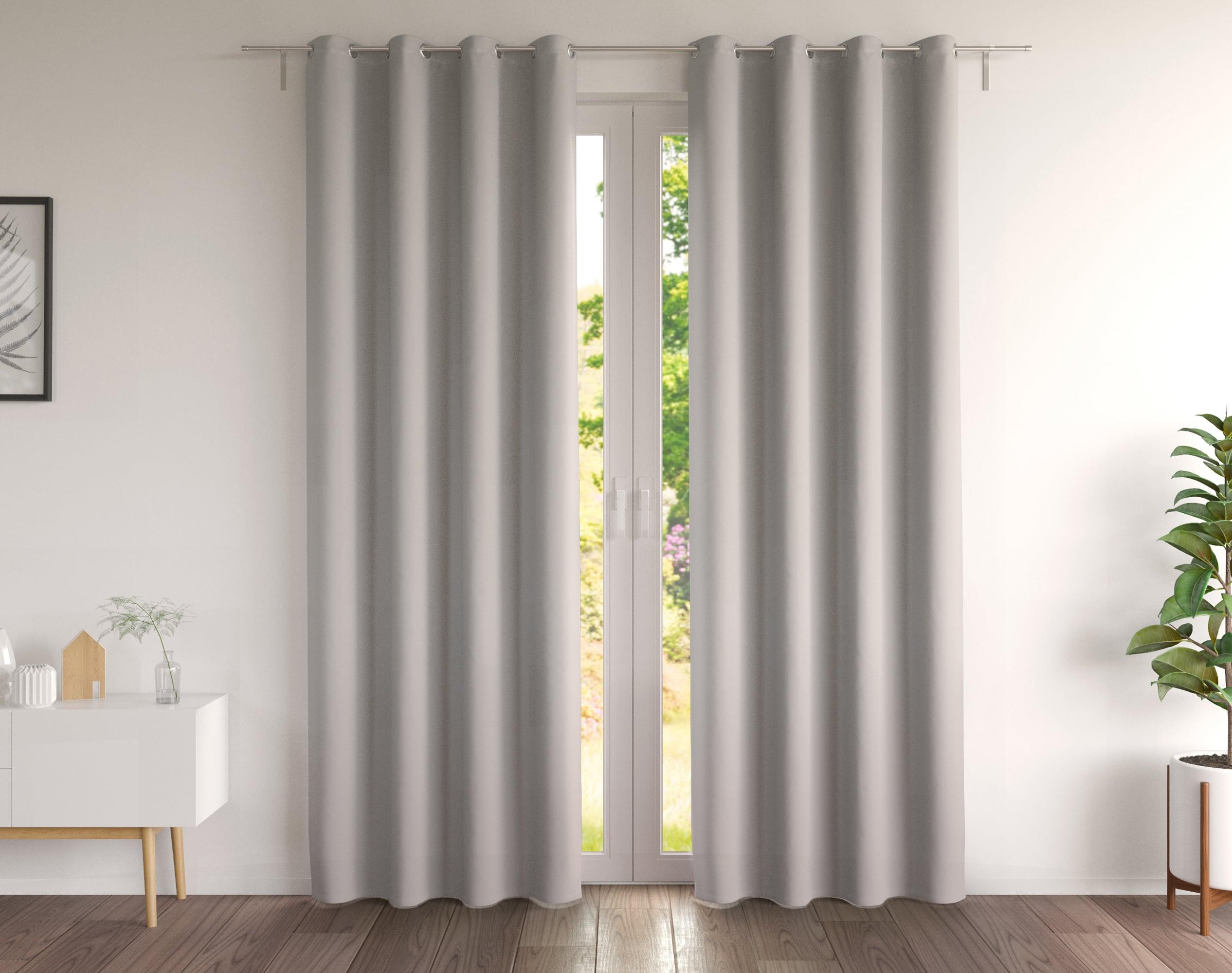 Paire de rideaux gris perle 135x180 en coton