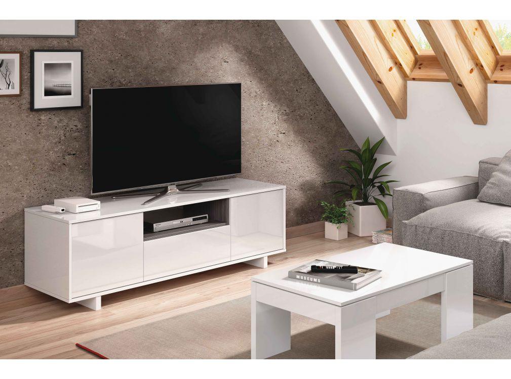 Meuble TV blanc/gris 3 portes et 1 Niche L150cm