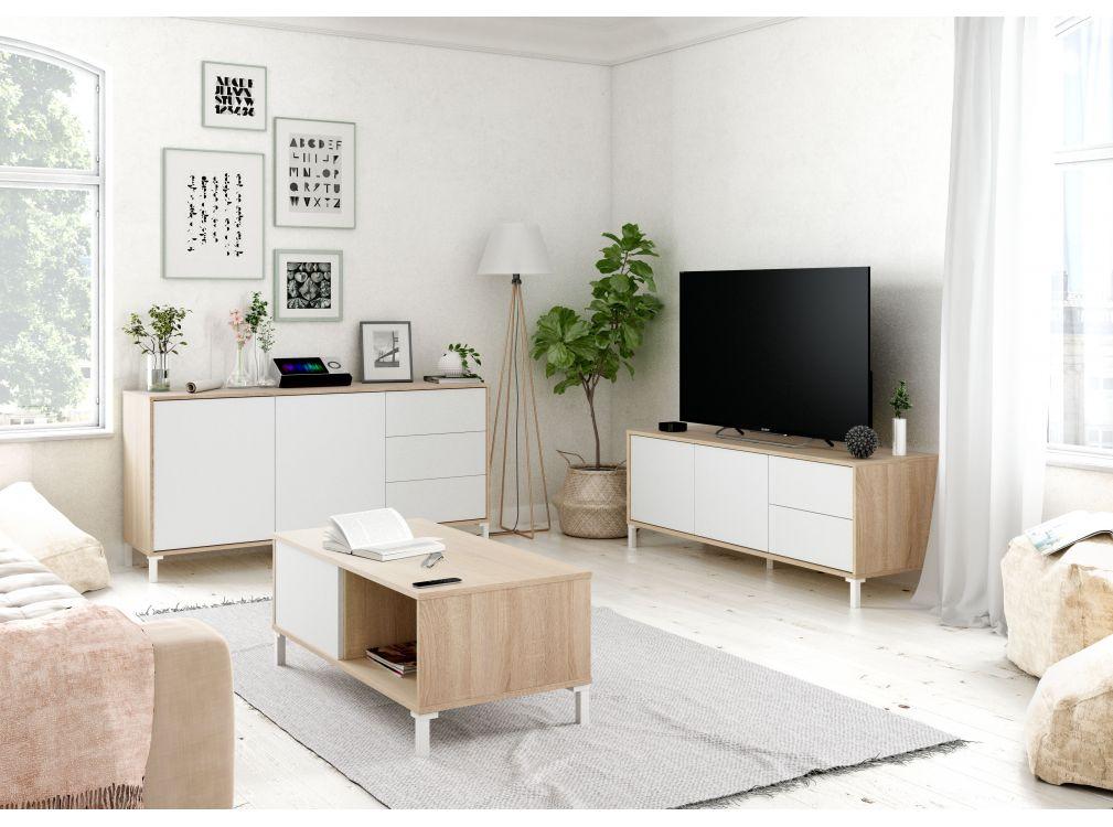 Table basse blanc/bois 2 Niches L100cm