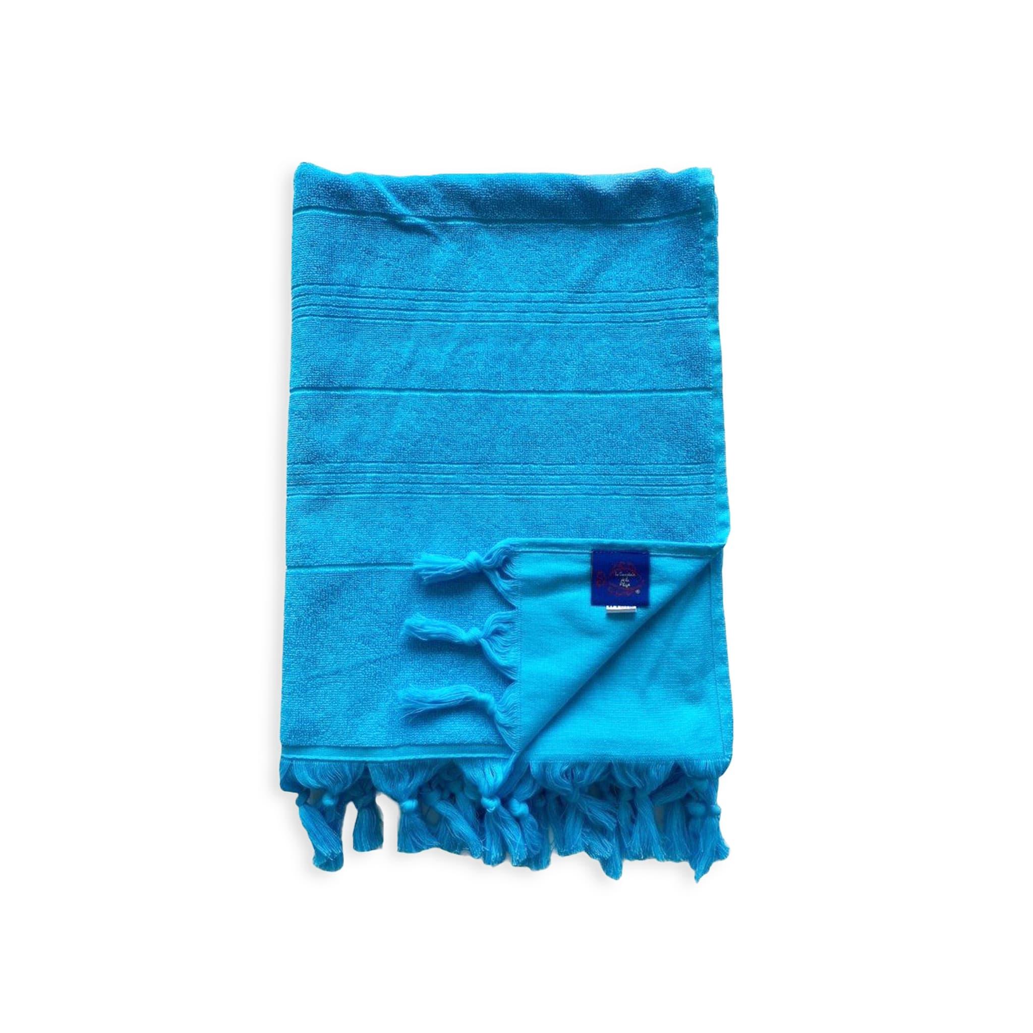 Fouta Hammam éponge bouclette bleu turquoise 150 x 180
