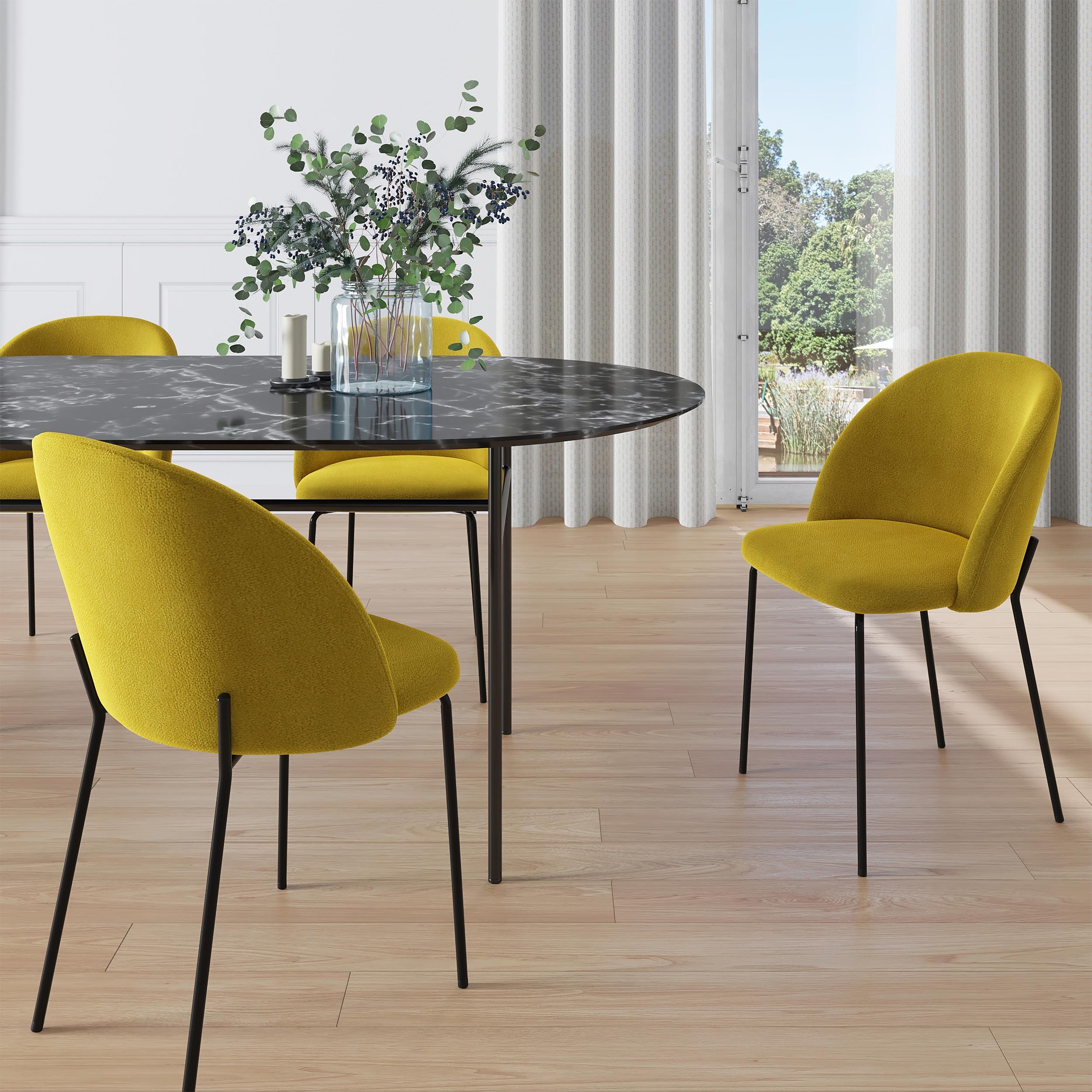 Chaise en velours jaune moutarde (lot de 2)