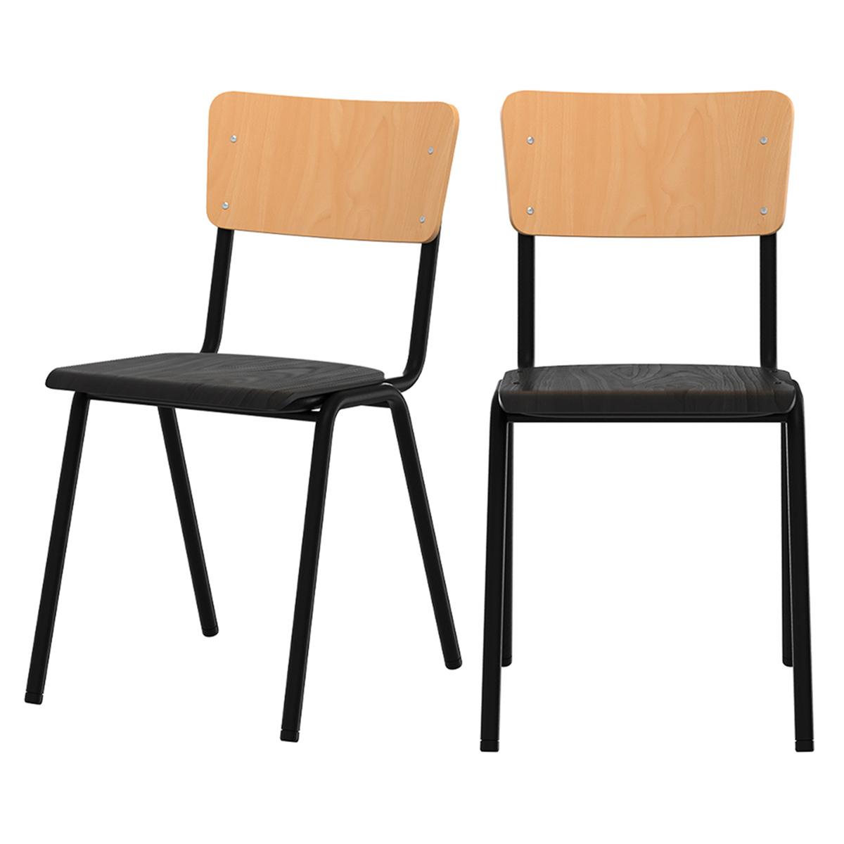 Chaise écolier en bois noir et pieds en métal (lot de 2)