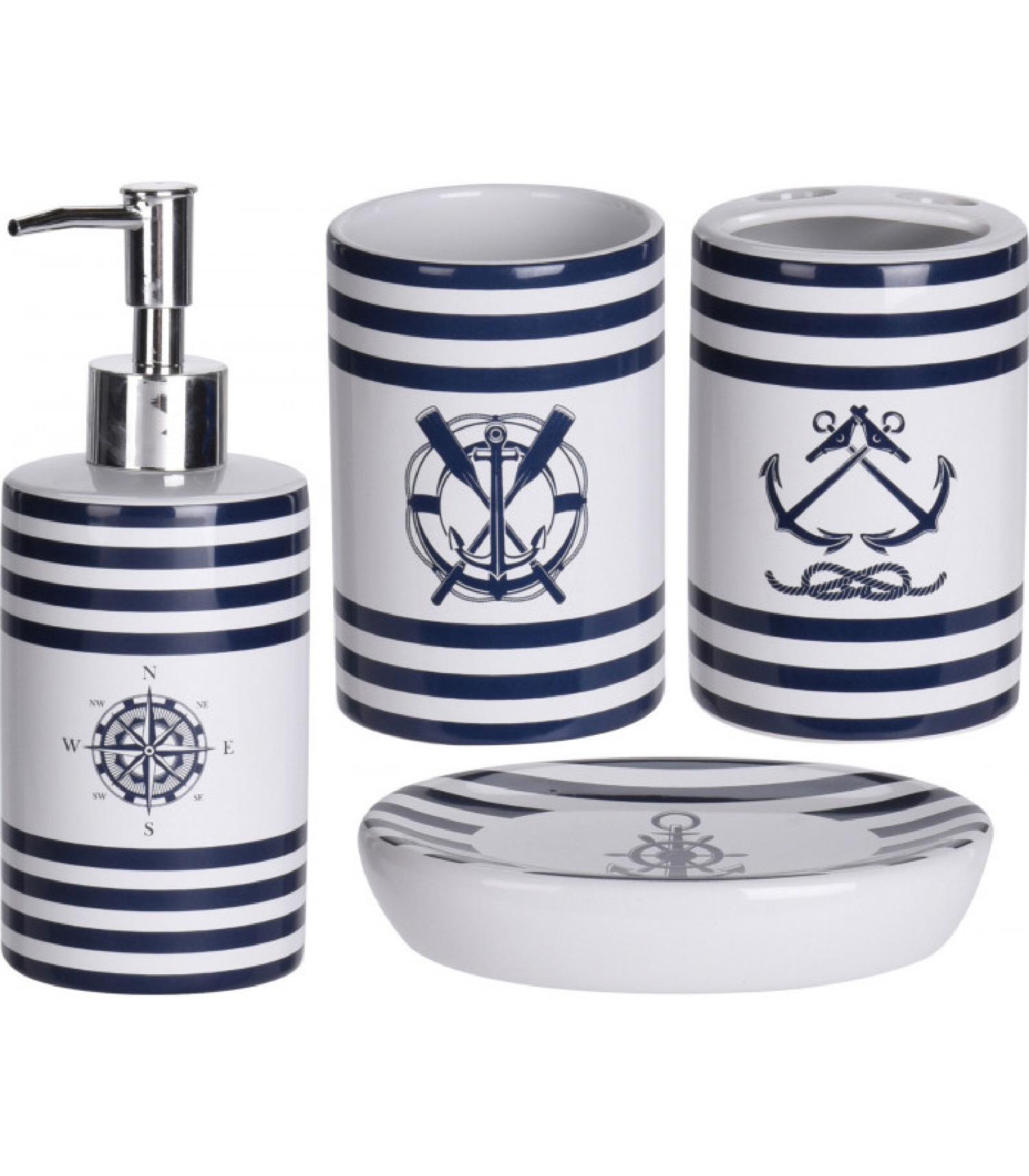 Set salle de bain bleu et blanc nautique 4 pièces