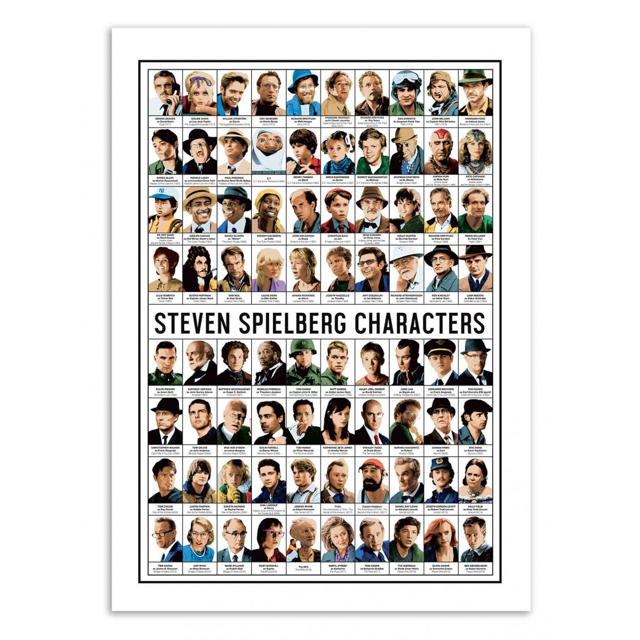 STEVEN SPIELBERG CHARACTERS - Affiche d'art 50 x 70 cm