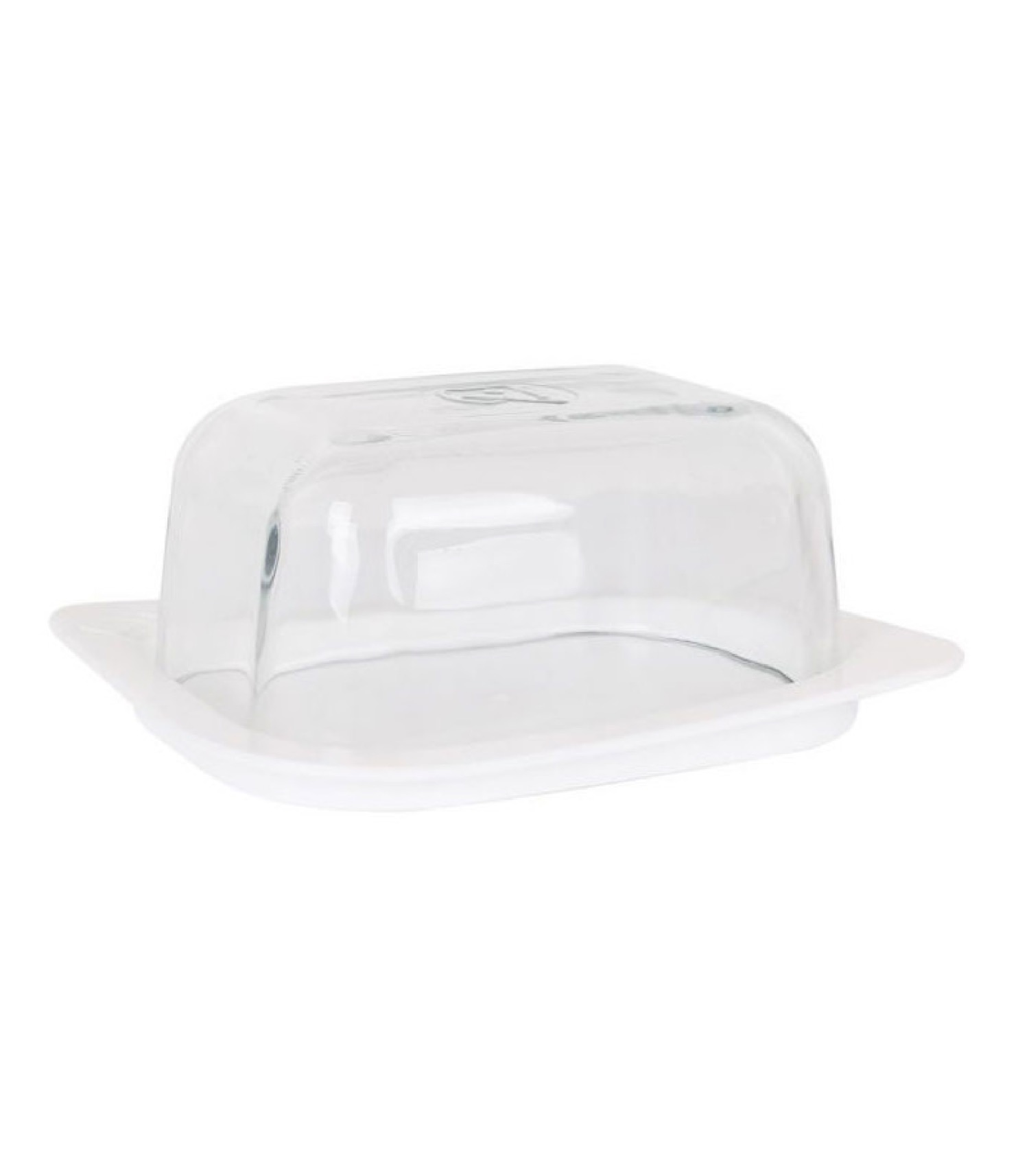 Beurrier en verre et base plastique blanche