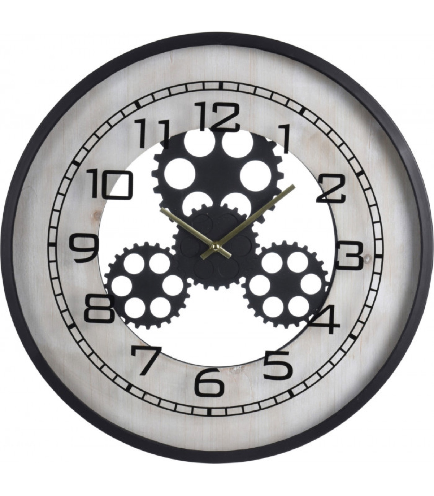 Horloge murale ronde en métal engrenages D48