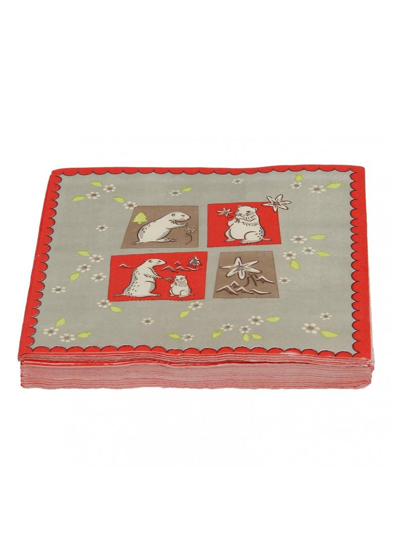 Serviettes papier marmottes (x20)