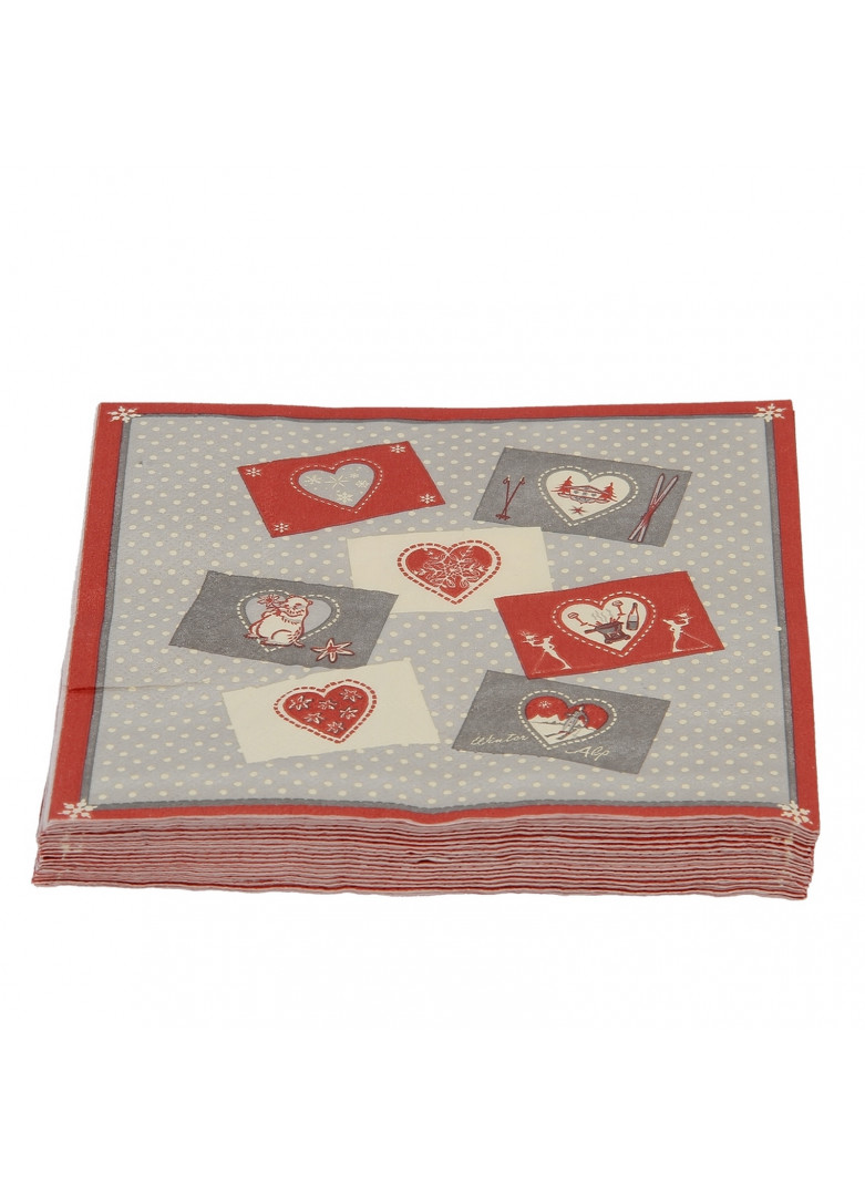 Serviettes papier coeurs (x20)