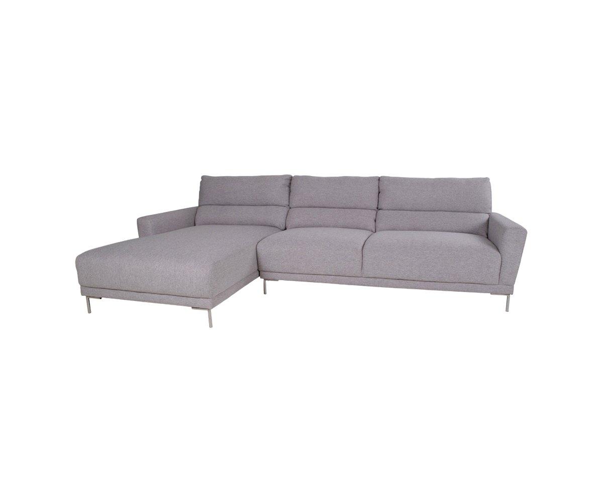 Canapé d'angle gauche en tissu gris