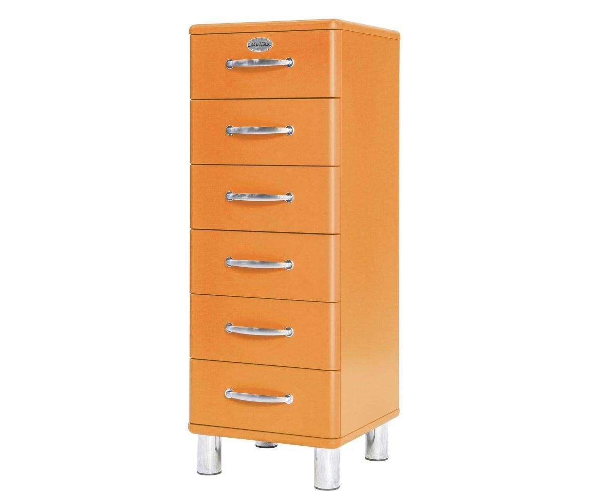 Commode haute 6 tiroirs en bois Orange
