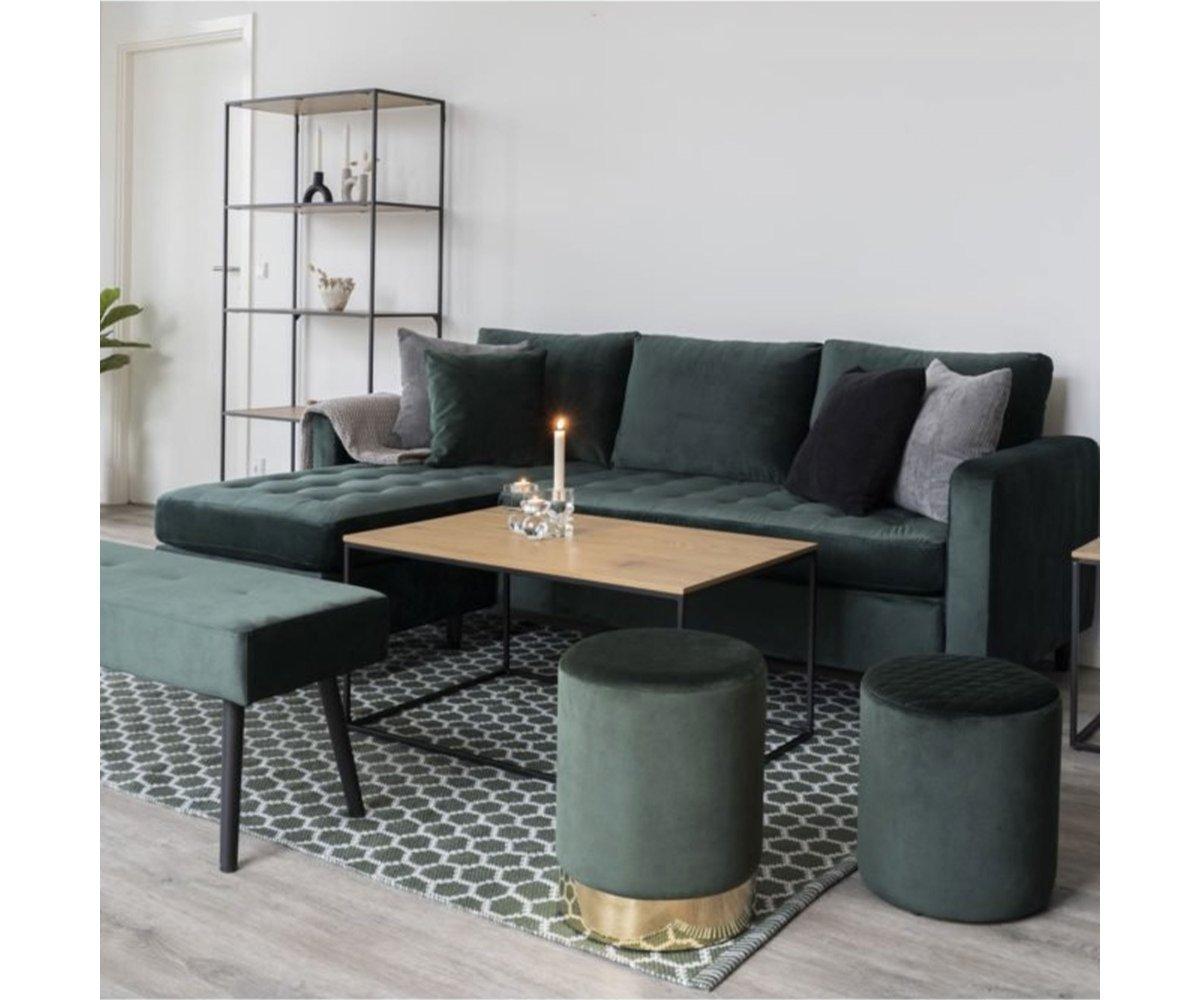 Table basse rectangulaire effet bois et métal