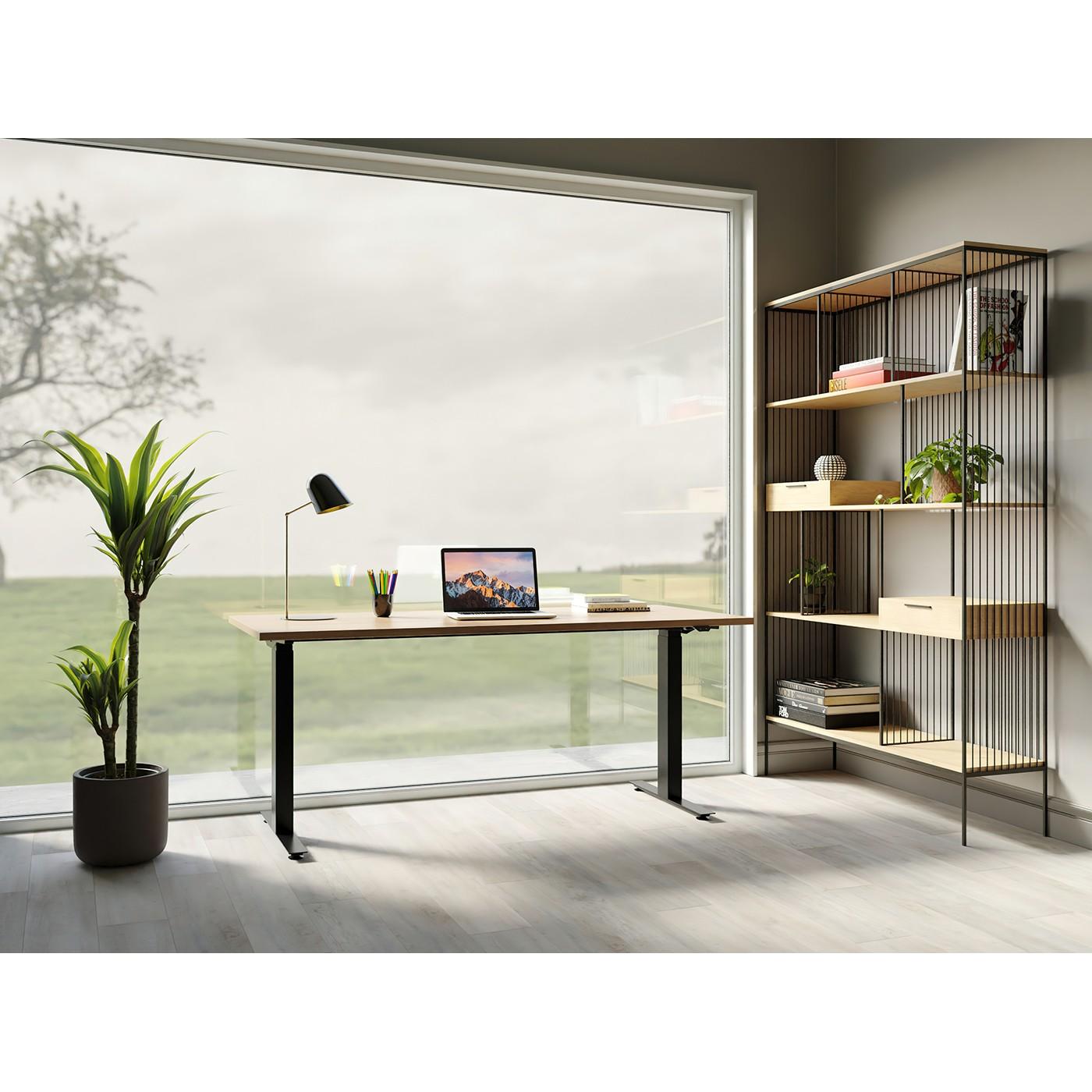Bureau réglable assis-debout en chêne et acier noir L200