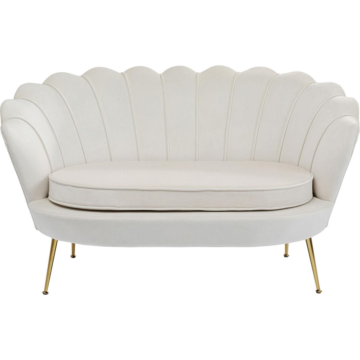Canapé 2 places en velours écru