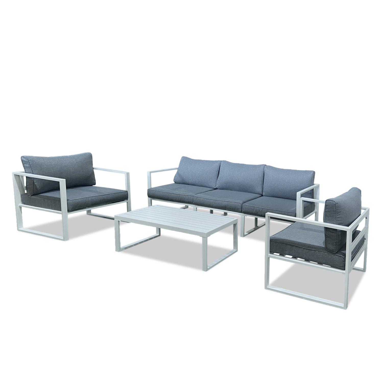 Salon de jardin en aluminium gris et blanc