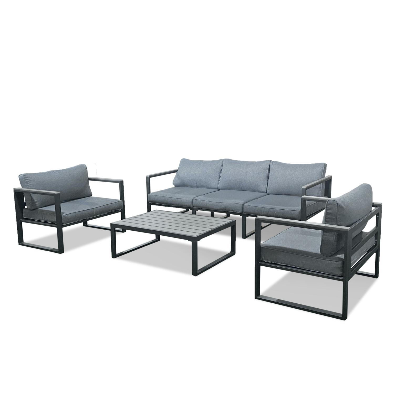 Salon de jardin en aluminium et polywood gris antracite