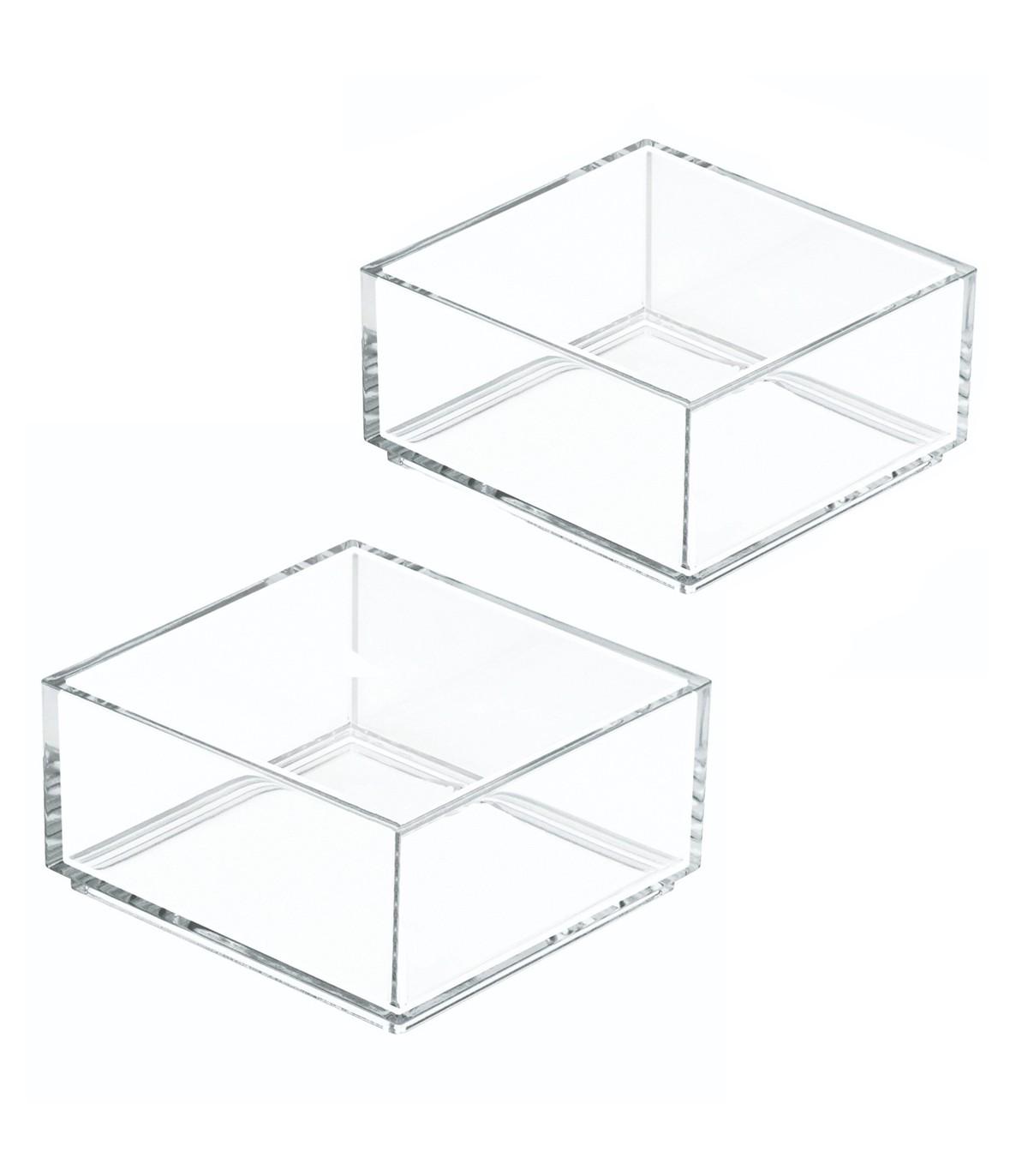 Lot de 2 boites de rangement cosmétique - Transparent