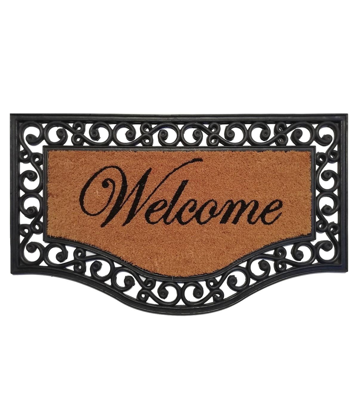 Paillasson arabesque Welcome 45x75cm - Noir
