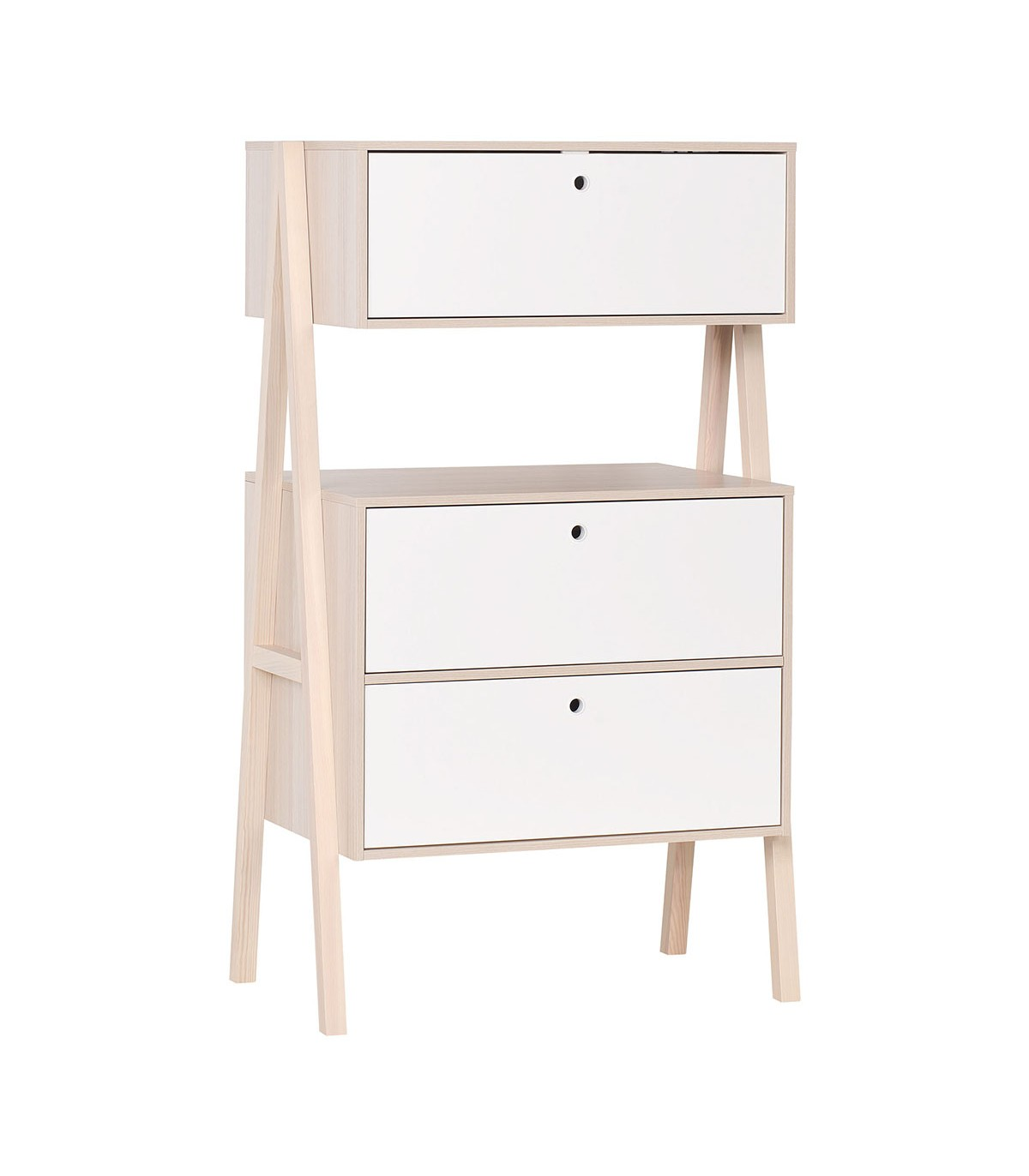 Commode 2 tiroirs et 1 porte abattant - Blanc et beige