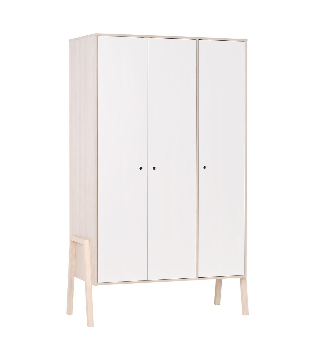 Armoire 3 portes, 5 étagères et 1 penderie - Blanc et beige
