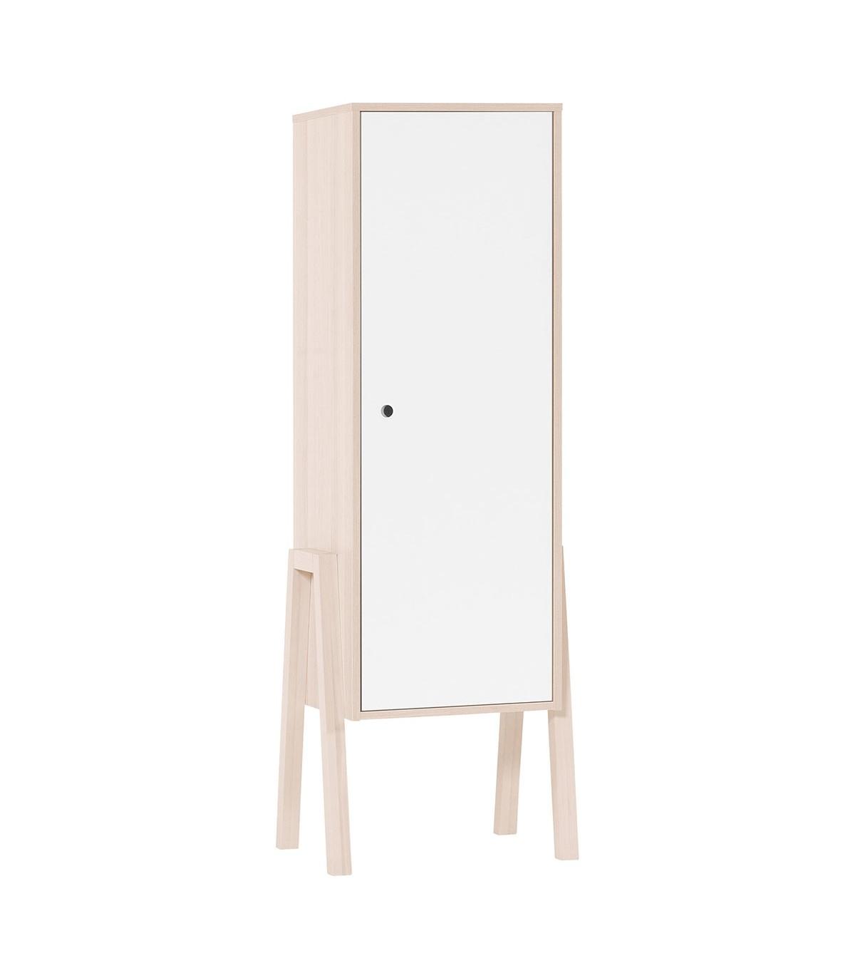 Armoire 1 porte 3 étagères intérieures - Blanc et beige