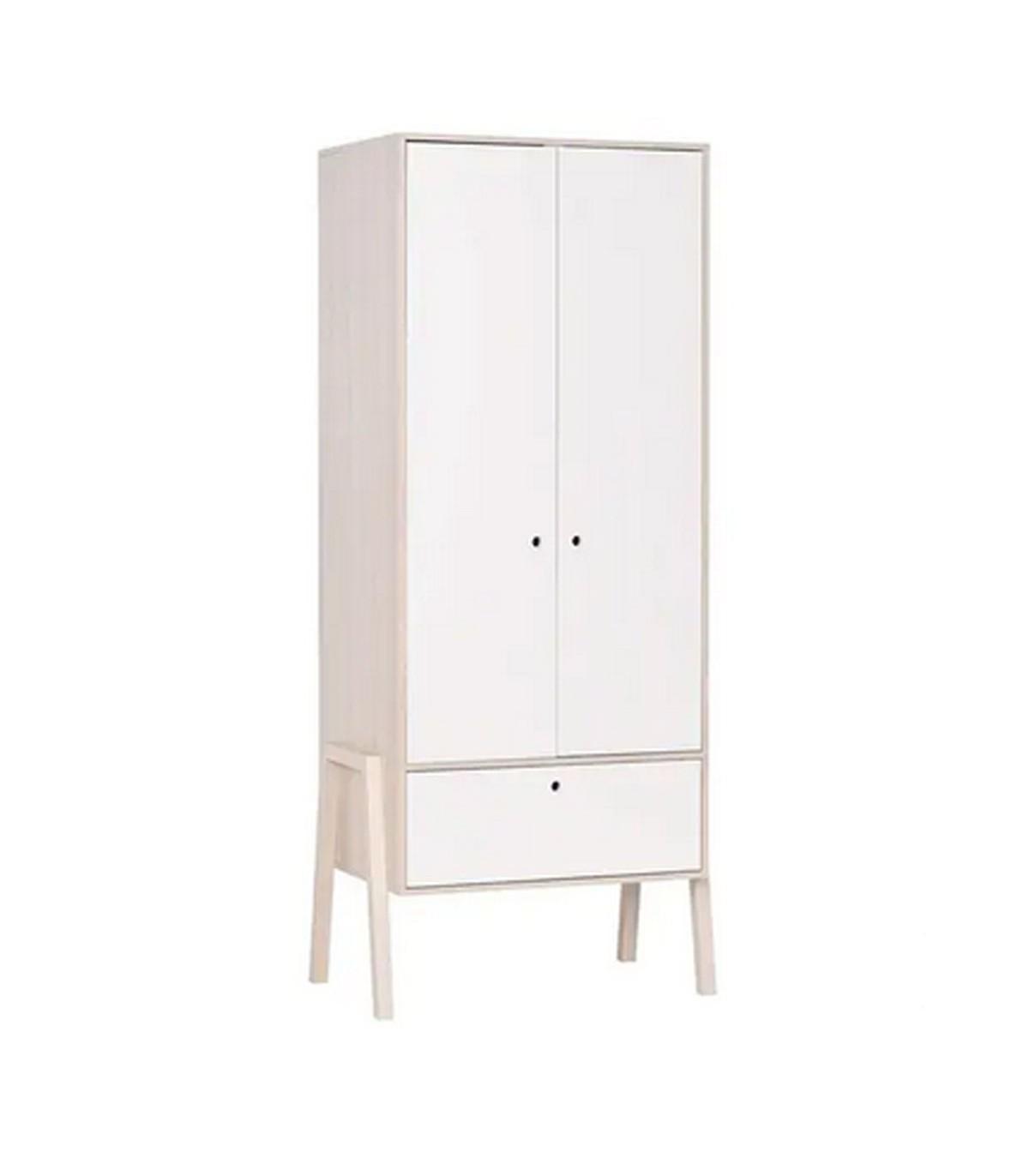 Armoire 2 portes 1 tiroir avec penderie - Blanc et beige
