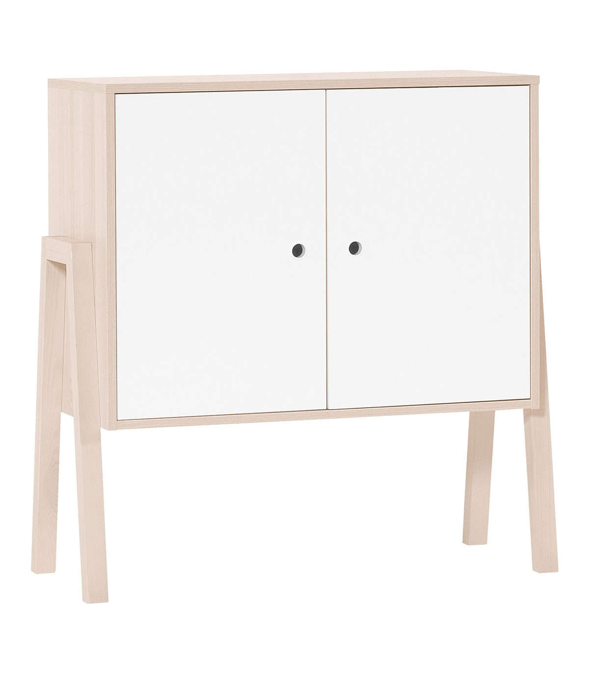 Commode 2 portes 1 étagère intérieure - Blanc et beige