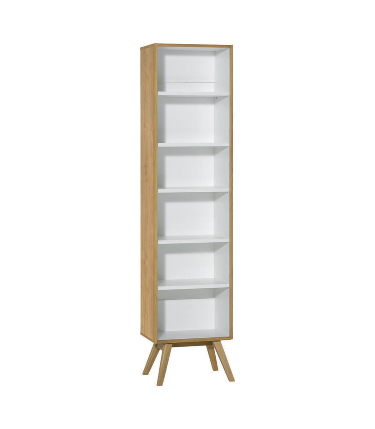 Bibliothèque 5 étagères H207,5 cm - Blanc et décor chêne
