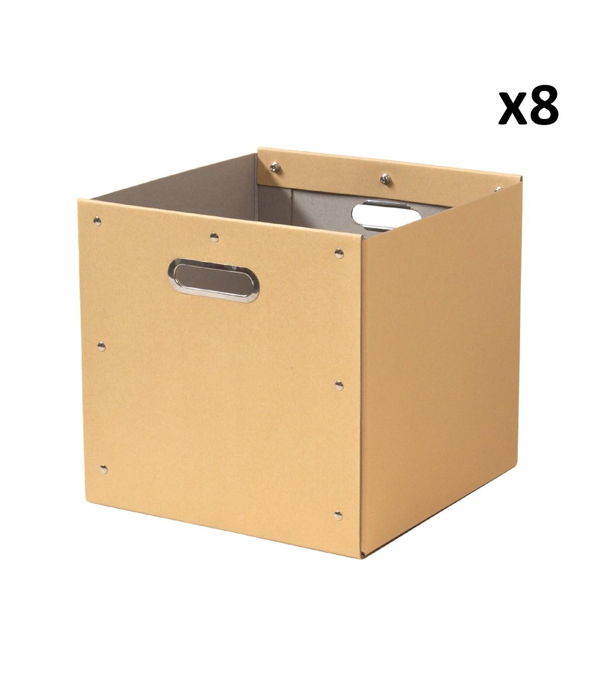 Lot de 8 cubes de rangement en kraft - 28x28x27cm - Beige