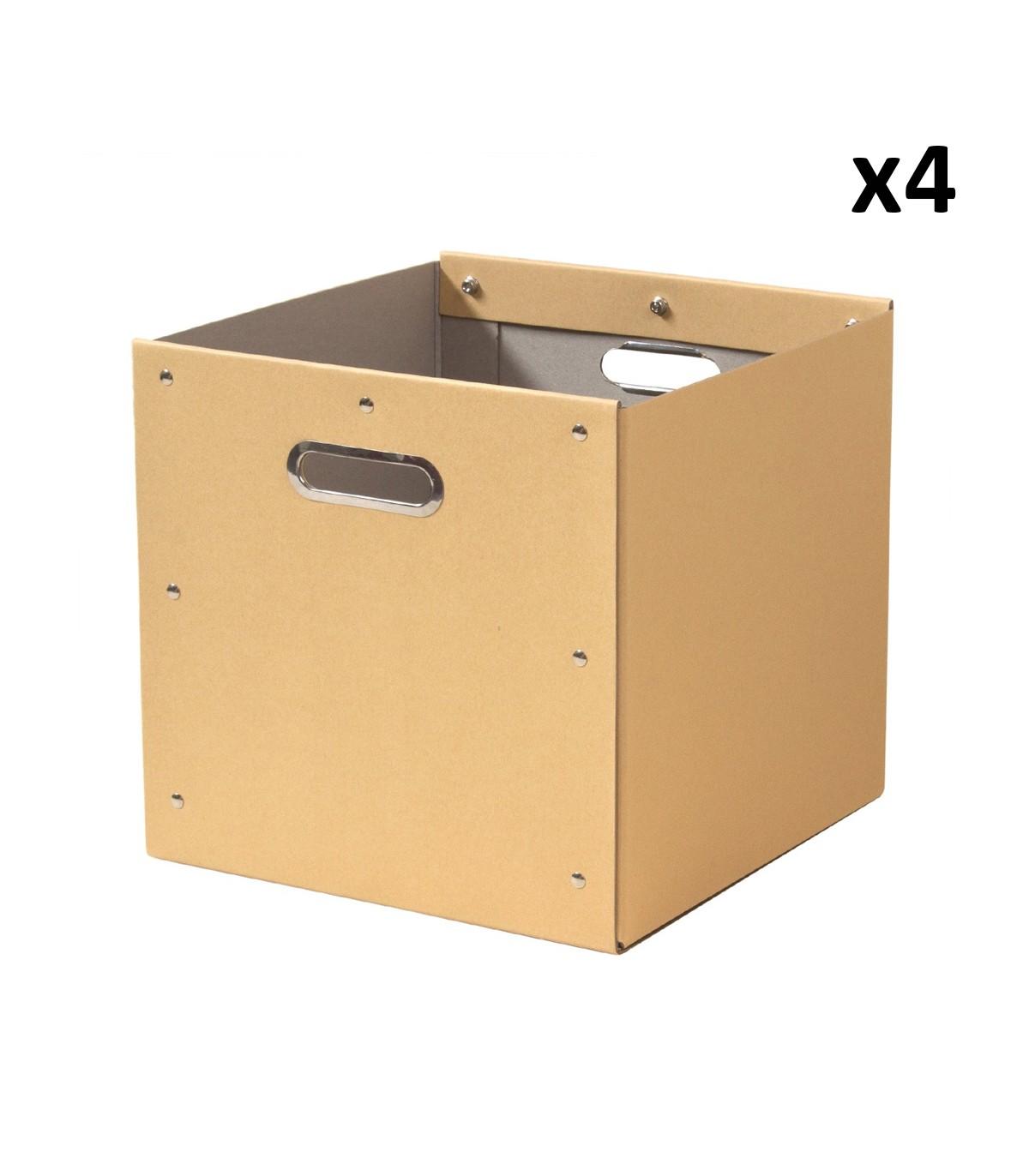 Lot de 4 cubes de rangement en kraft - 28x28x27cm - Beige