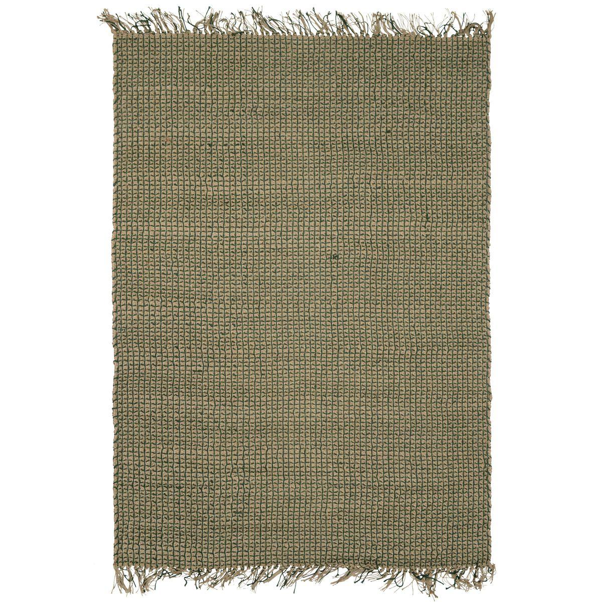 Tapis en jute et coton vert 160x230
