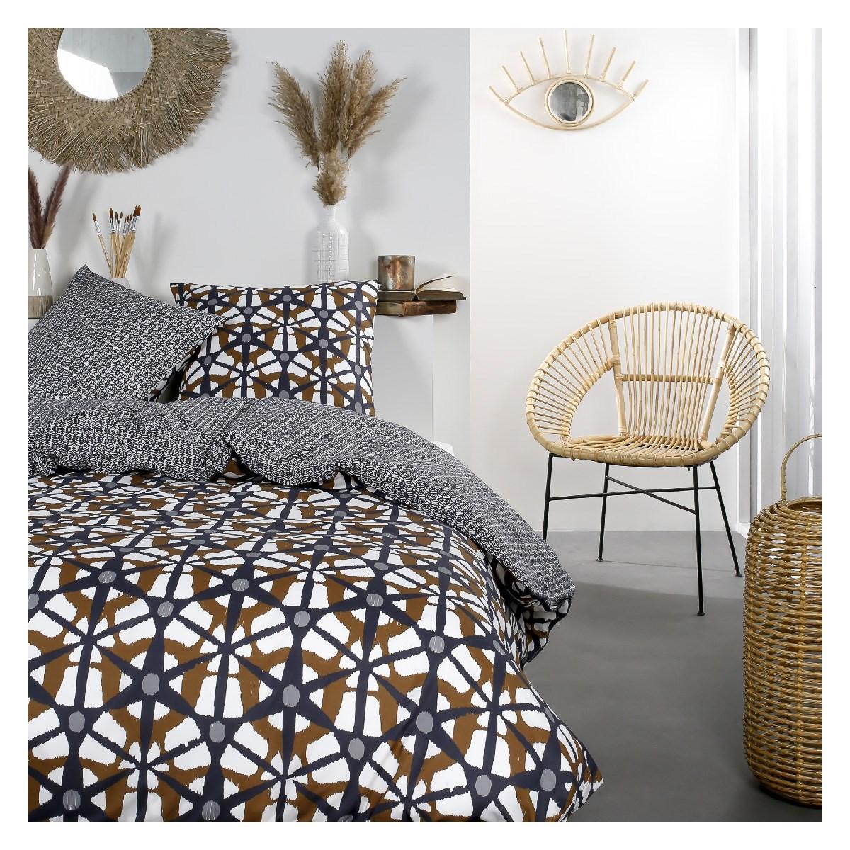 Parure de lit zippée 2 personnes imprimé en Coton Noir 240x220 cm
