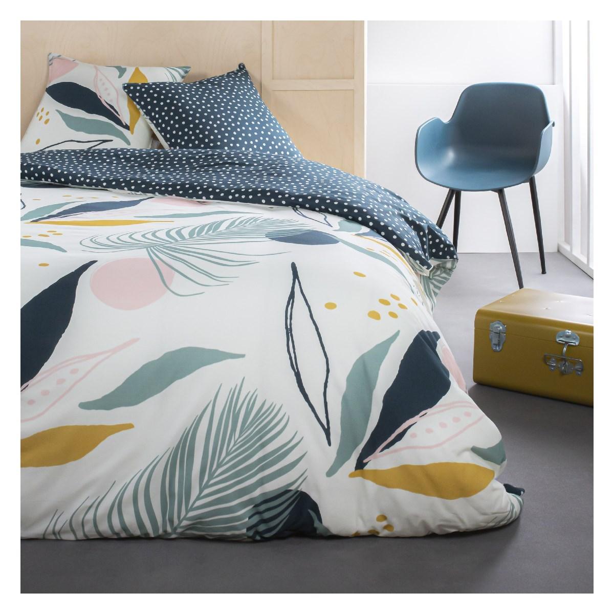 Parure de lit 2 personnes imprimé floral en Coton Blanc 240x260 cm