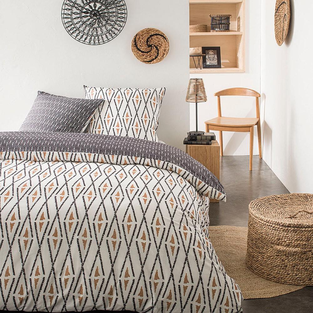 Parure de lit 2 personnes imprimé en Coton Beige 220x240 cm