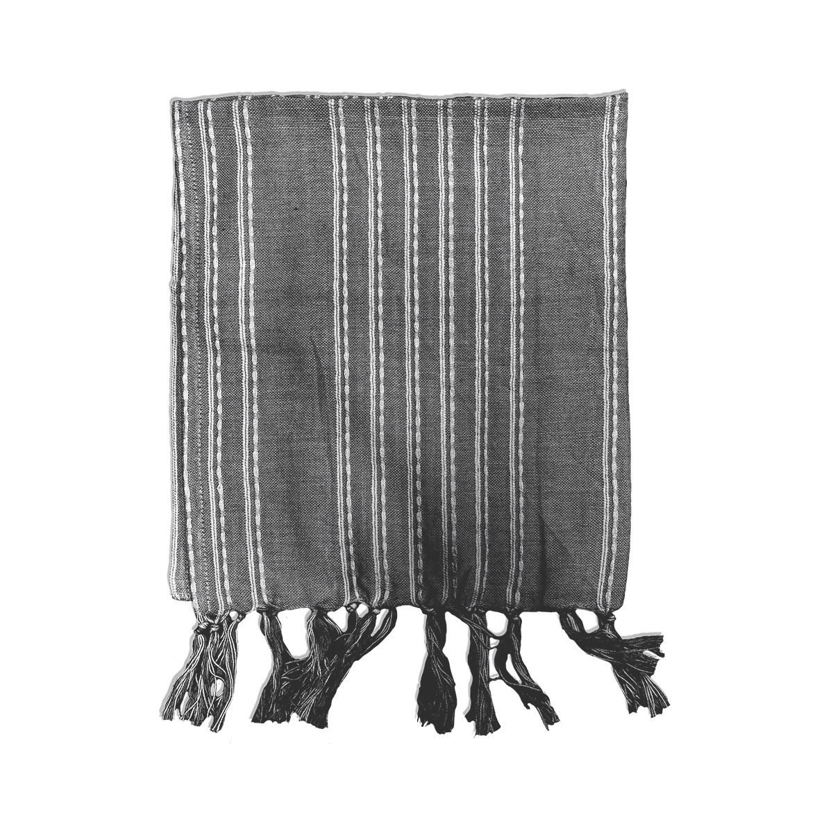 fouta imprimé rayures en Coton Gris 100x190cm