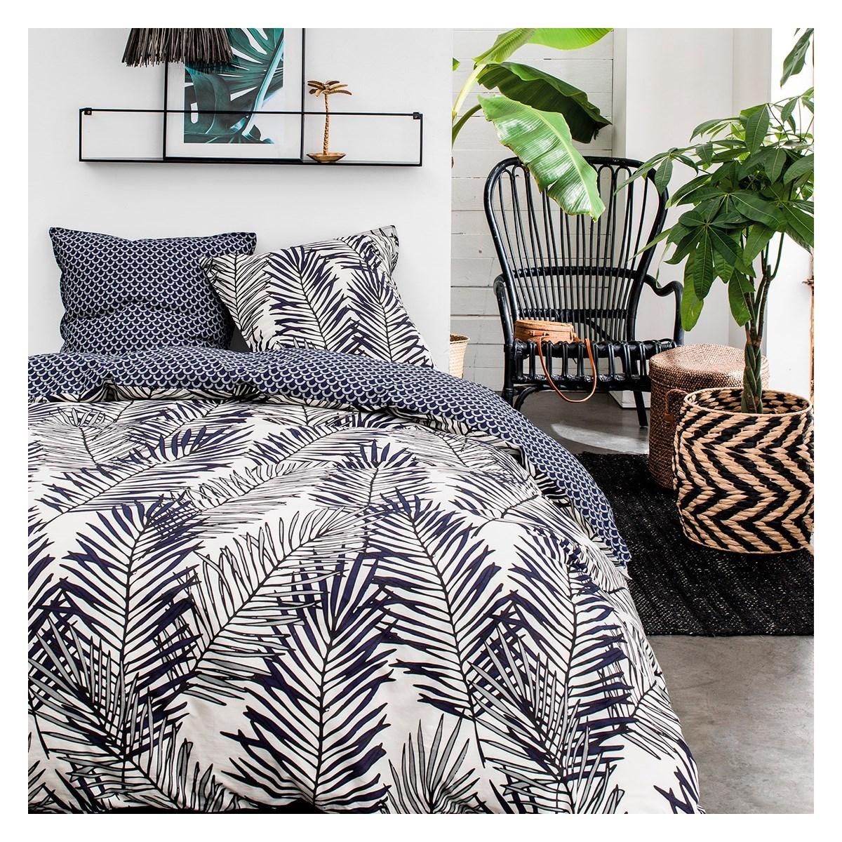 Parure de lit zippée 2 personnes imprimé en Coton Noir 220x240 cm