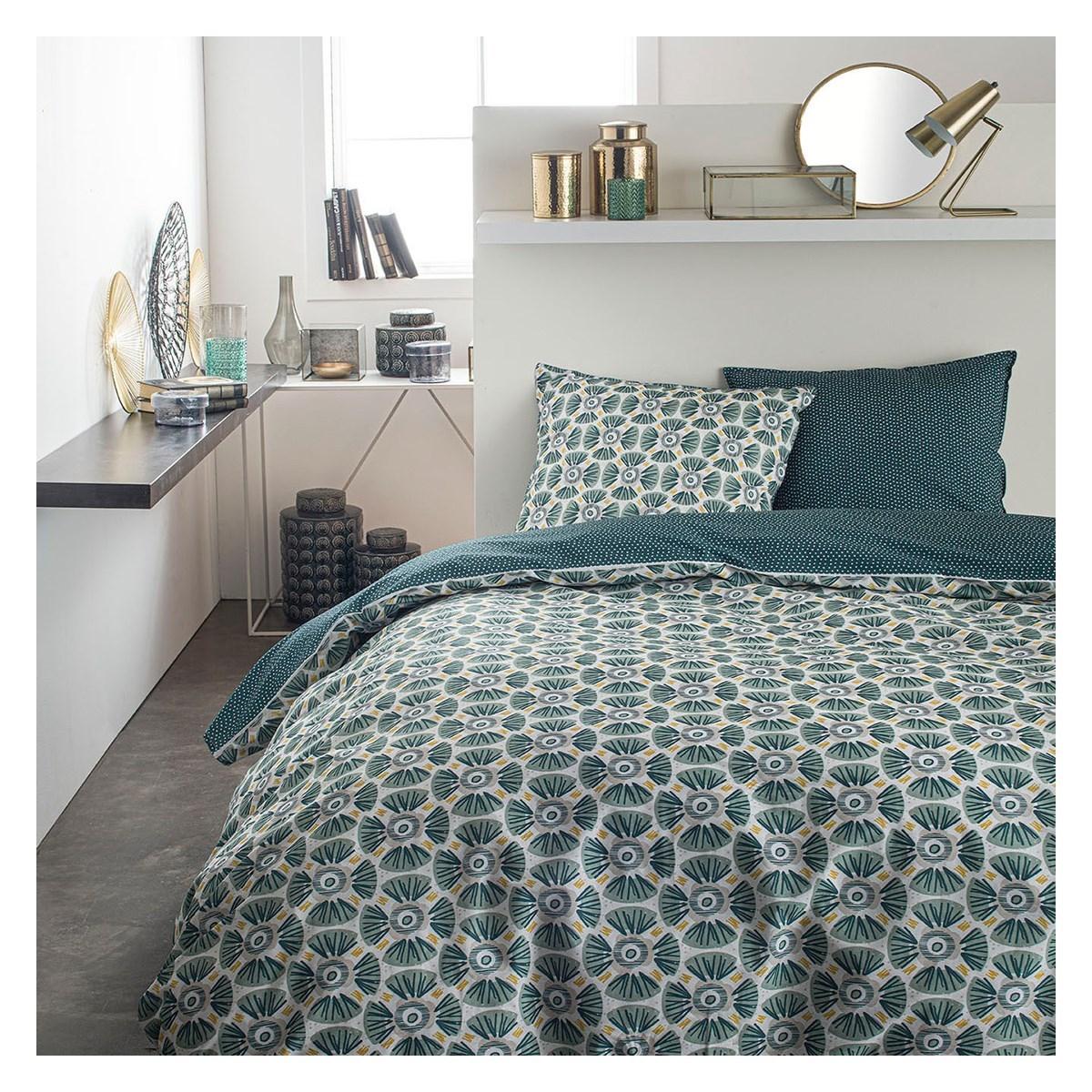 Parure de lit 2 personnes imprimé en Coton Vert 220x240 cm