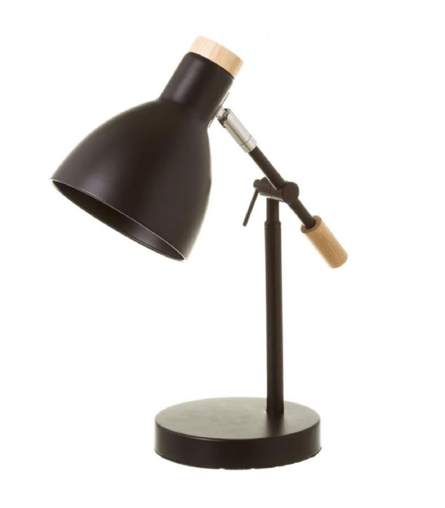 Lampe de bureau métal noir et bois H36,5cm