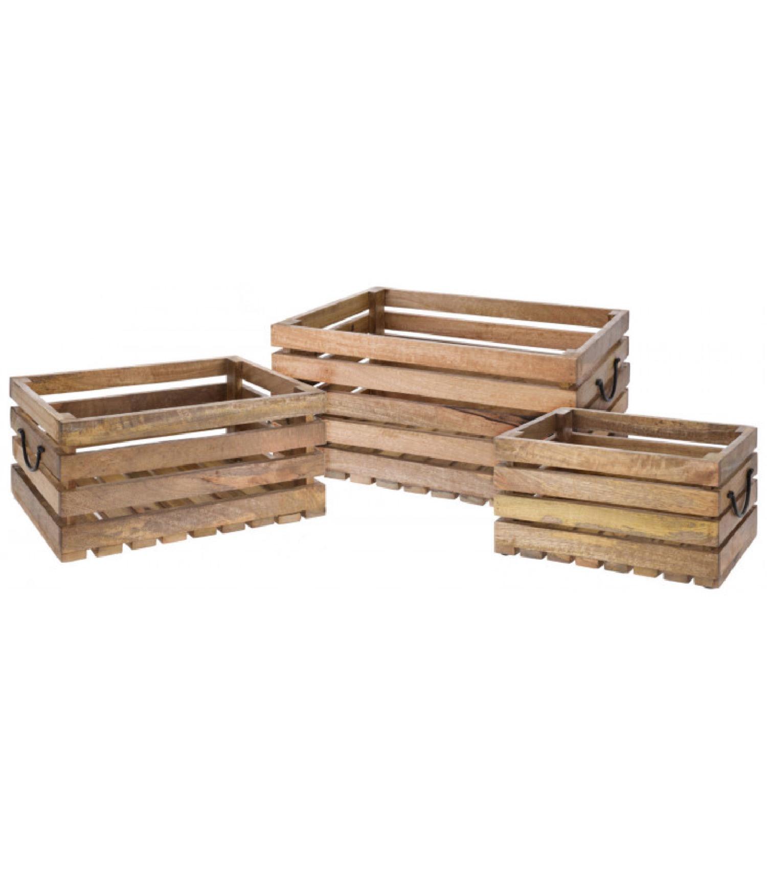 Caisses en bois style caisses à fruits - Lot de 3