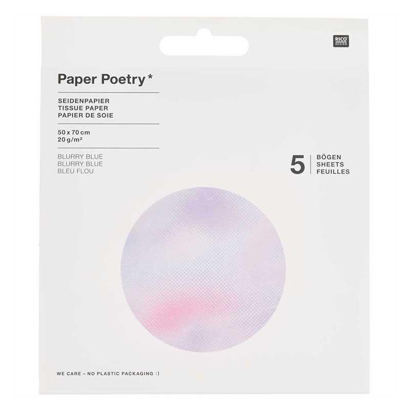 Papier de soie 5 feuilles flou bleu et violet 50x70cm