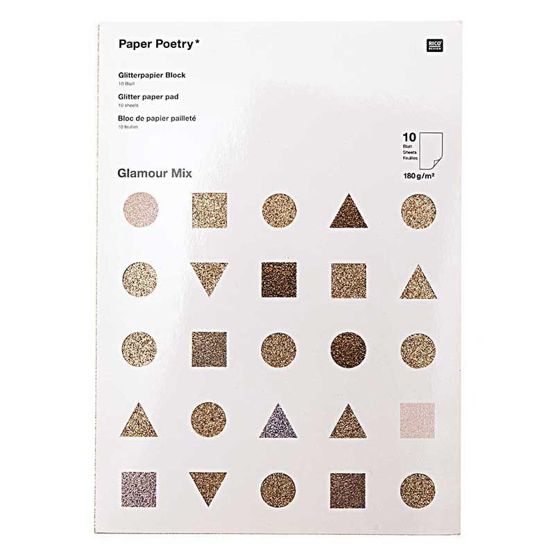 10 feuilles de papier pailleté A4 doré et argenté