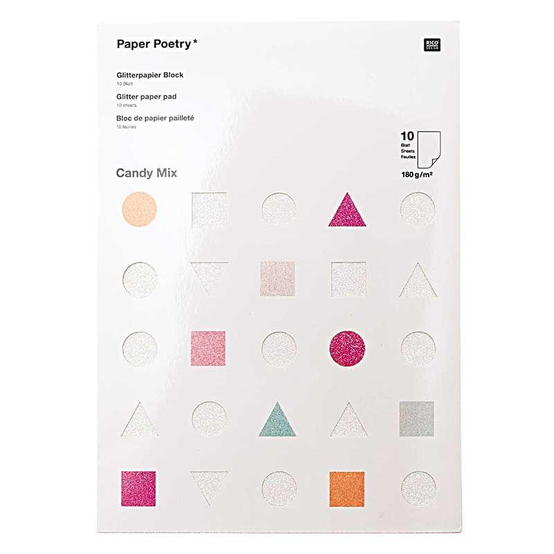 10 feuilles de papier pailleté A4 couleurs acidulées