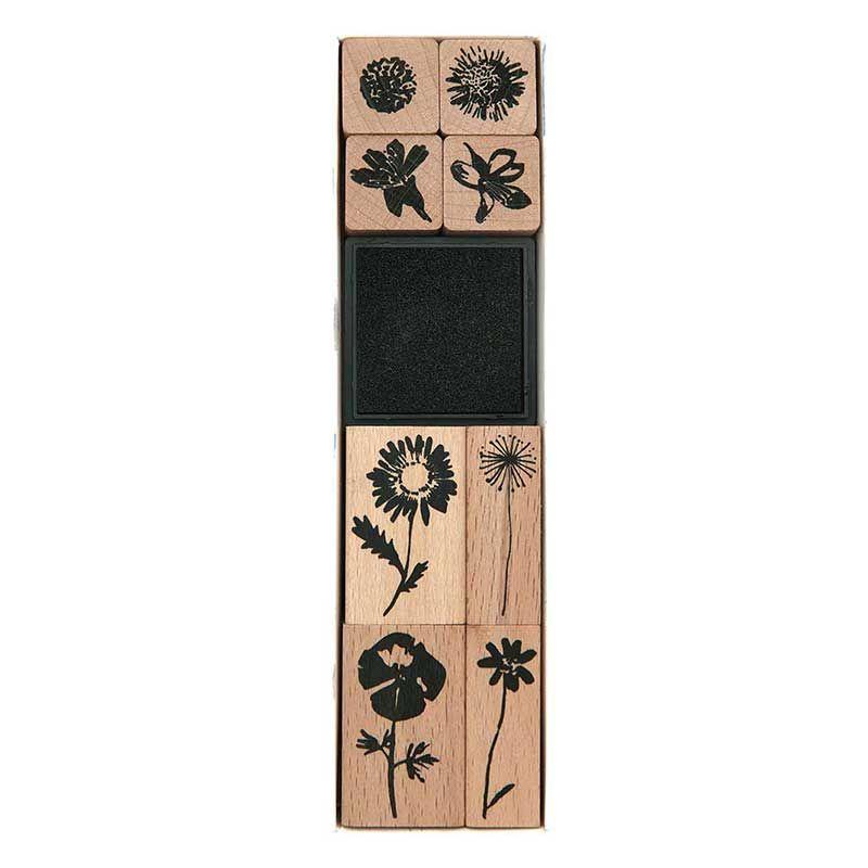 8 tampons en bois fleurs sauvages