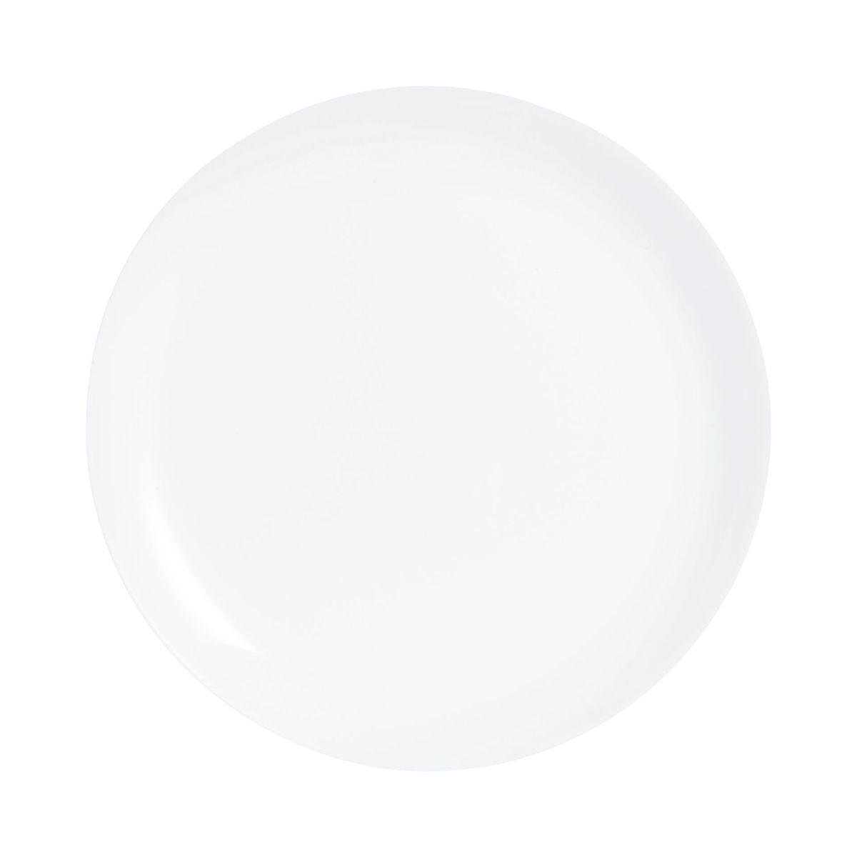 Assiette plate blanche en verre opale extra résistant D25cm