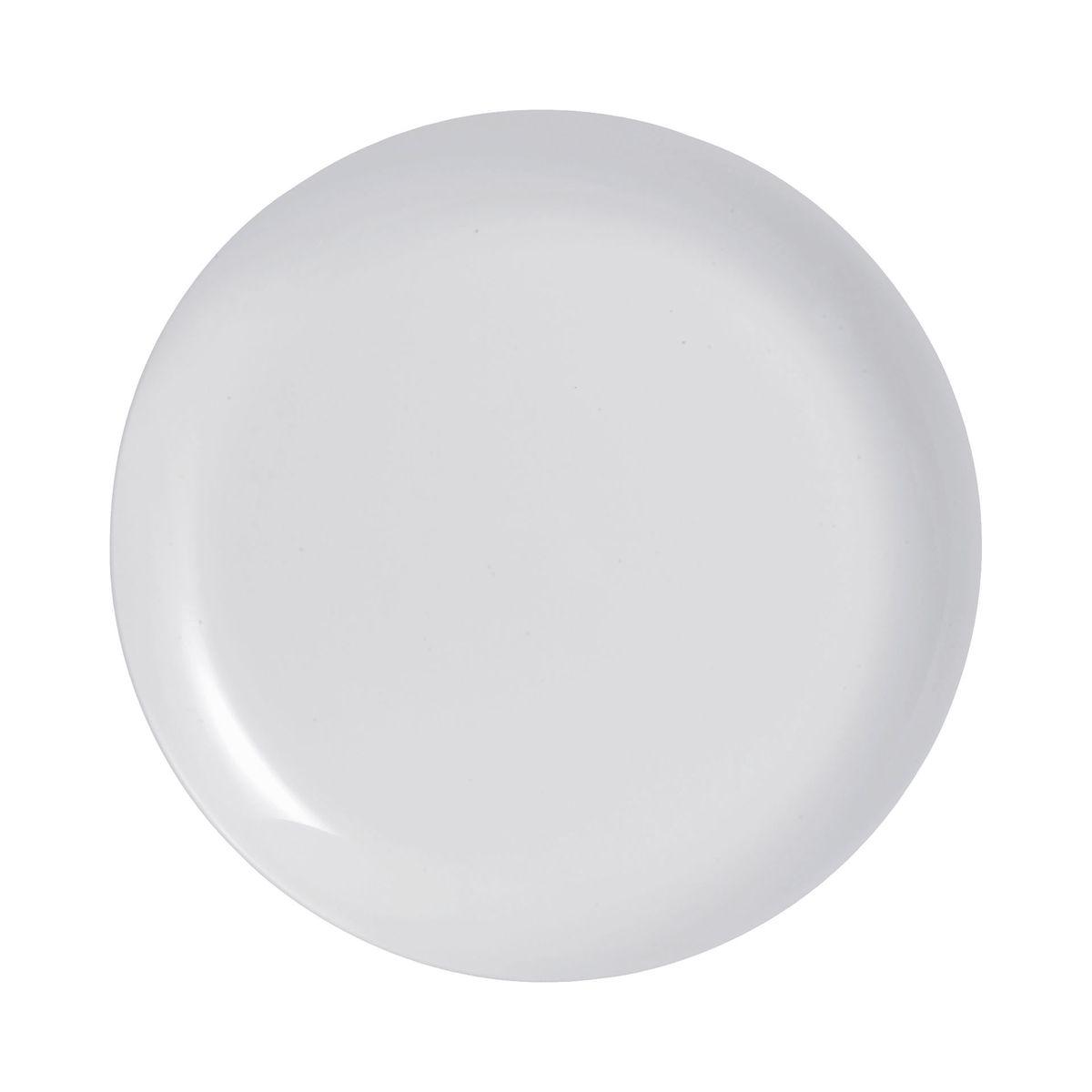 Assiette plate grise en verre opale extra résistant D25cm