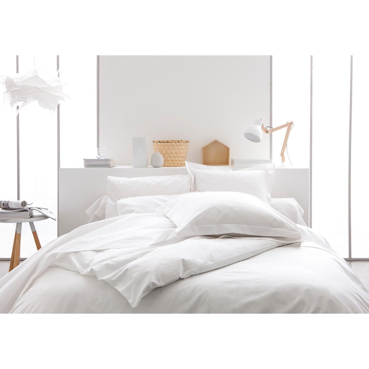 Housse de couette uni  en Coton  Blanc 220x240 cm