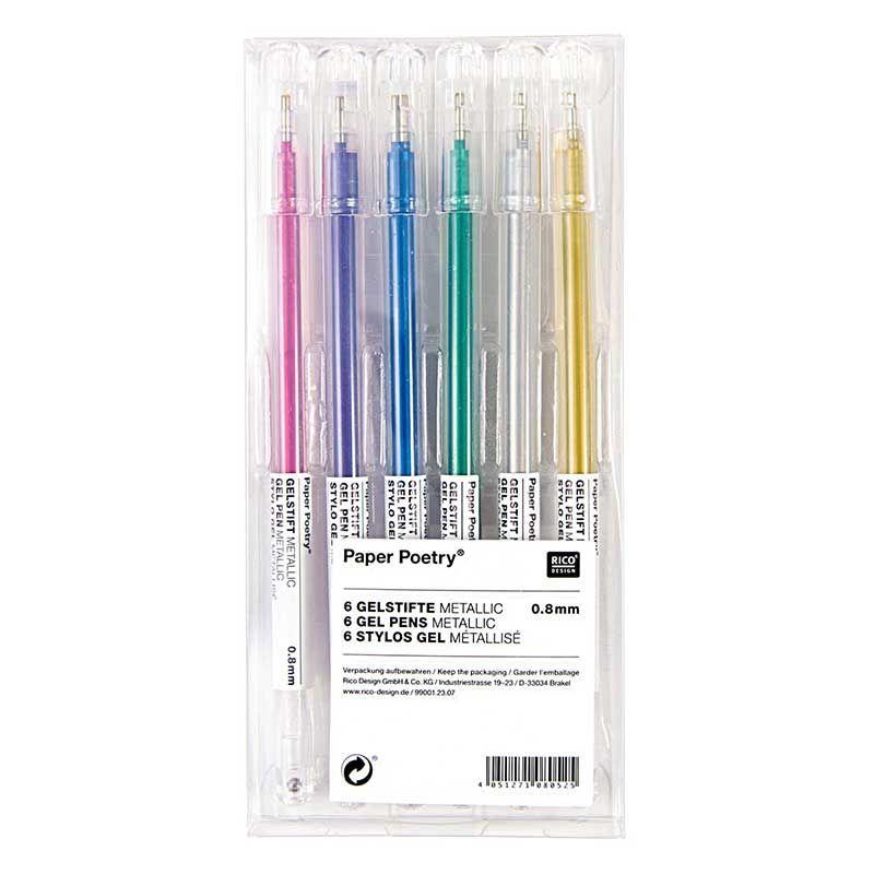 6 stylos gel métalisé 0,8mm