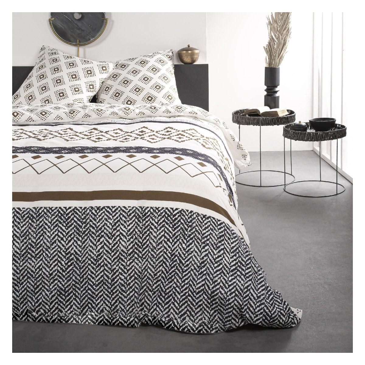 Parure de lit 2 personnes imprimé en Coton Blanc 240x260 cm