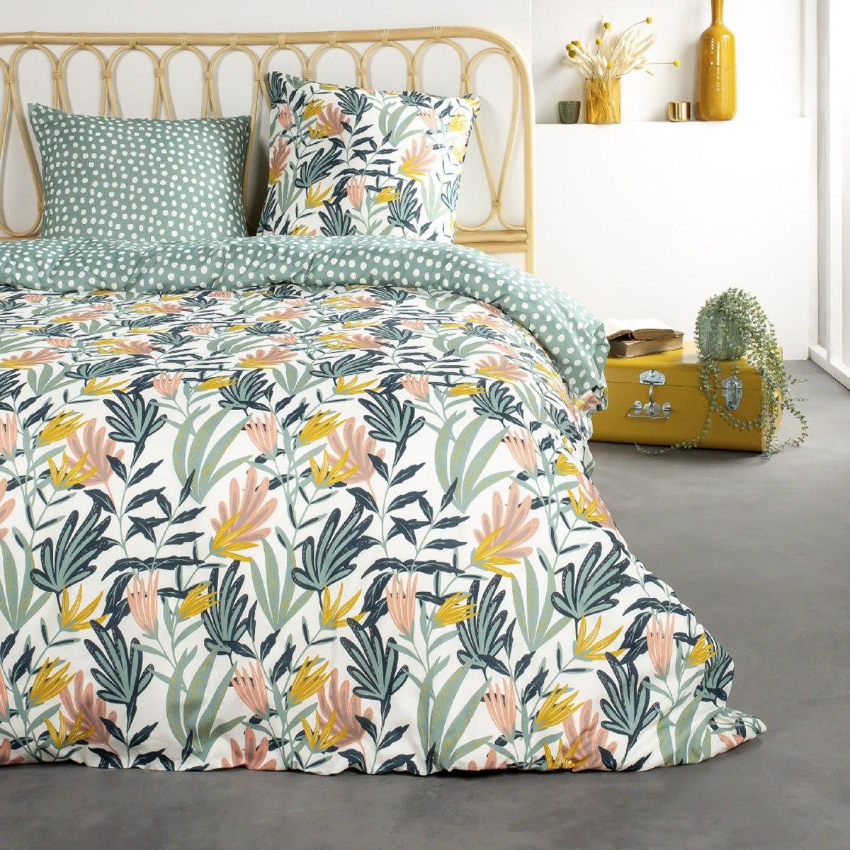 Parure de lit 2 personnes imprimé floral en Coton Vert 240x260 cm