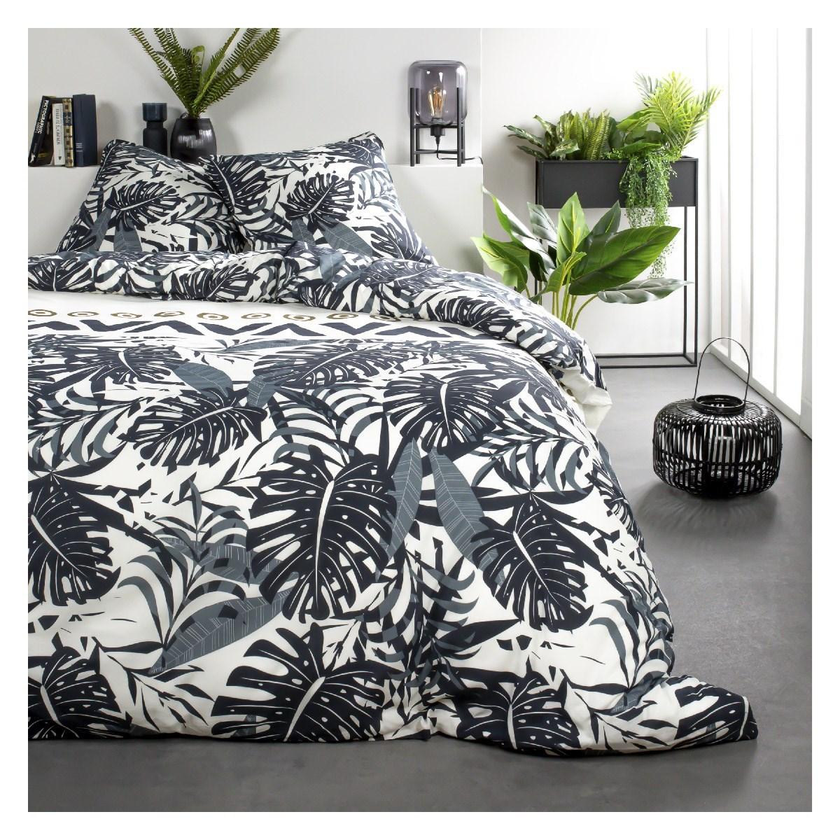 Parure de lit 2 personnes imprimé jungle en Coton Blanc 240x260 cm