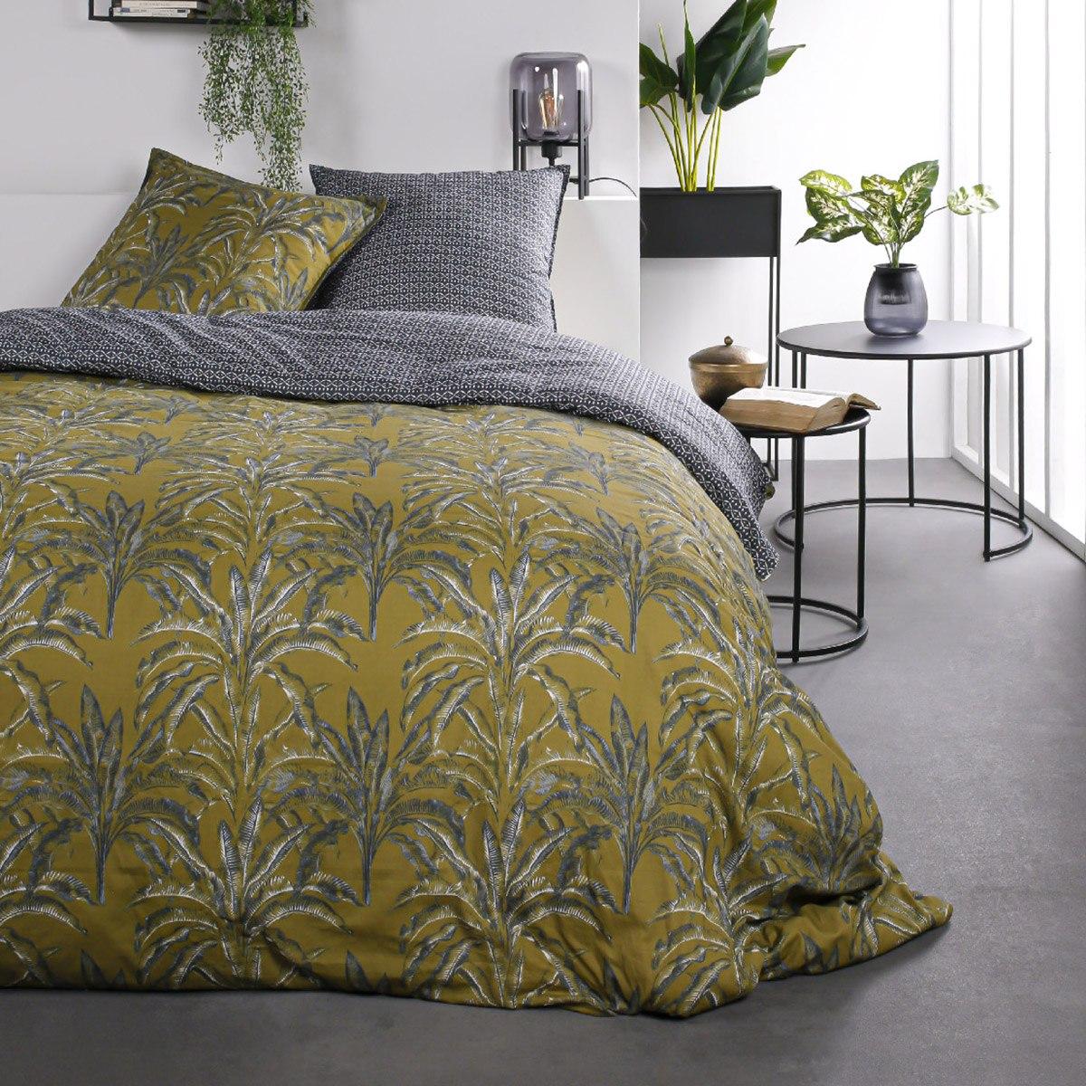 Parure de lit 2 personnes imprimé jungle en Coton Marron 240x260 cm